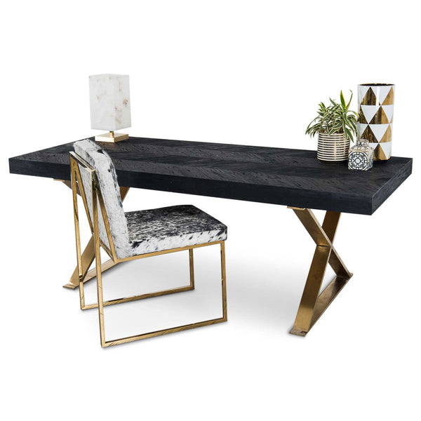 Bordeaux Desk with Brass X-Legs - ModShop1.com