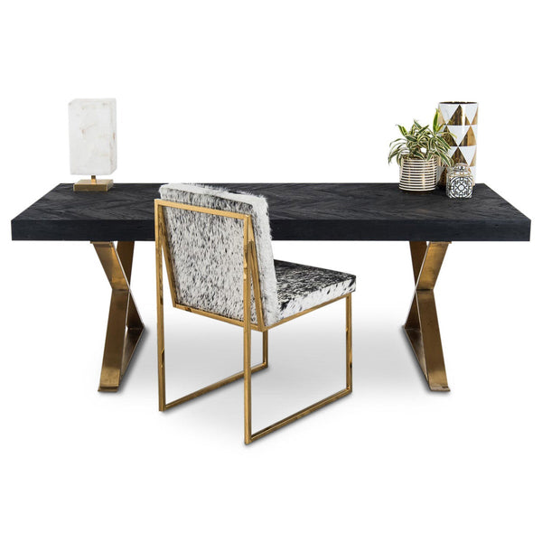 Bordeaux Desk with Brass X Legs