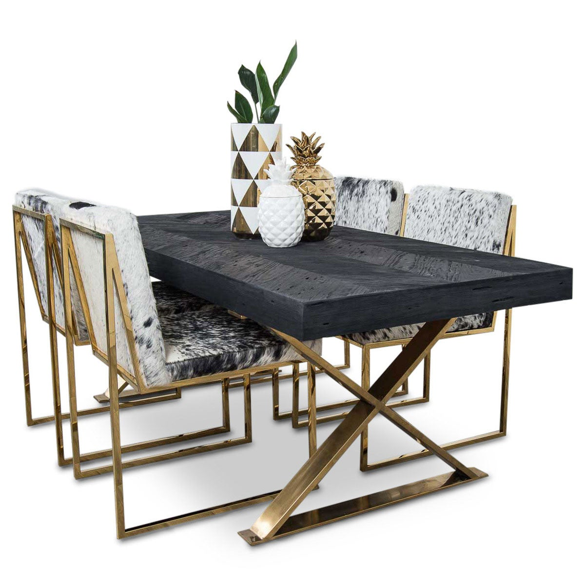 Bordeaux Dining Table With Brass X Legs