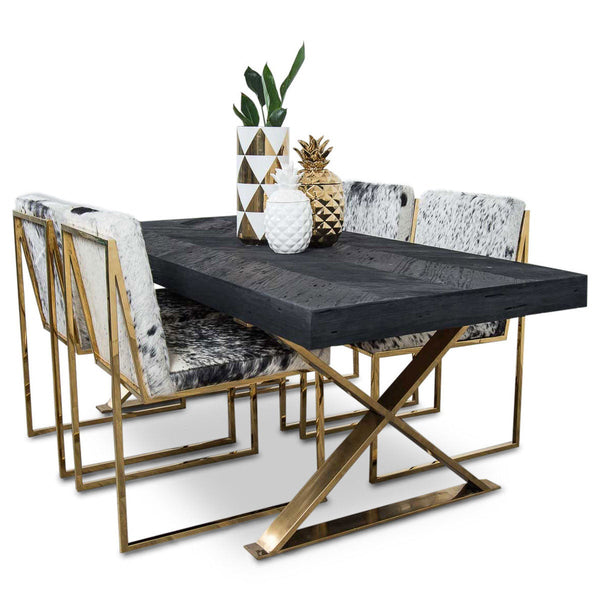 Good Dining Table With Gold Legs Part - 1: Bordeaux Dining Table With Brass X Legs