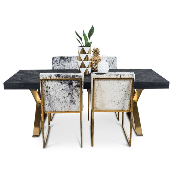 Bordeaux Dining Table with Brass X Legs ModShop : matte black dining table front merchgrande from modshop1.com size 600 x 600 jpeg 31kB