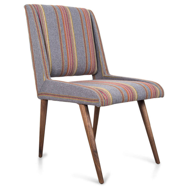 Mid Century Dining Chair in Multi Stripe Textured Linen