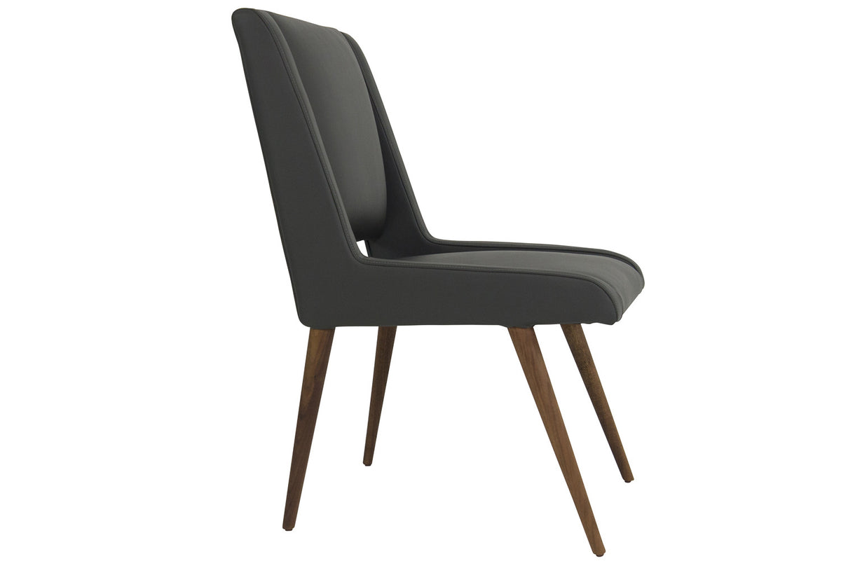Mid Century Dining Chair in Charcoal Leather - ModShop1.com