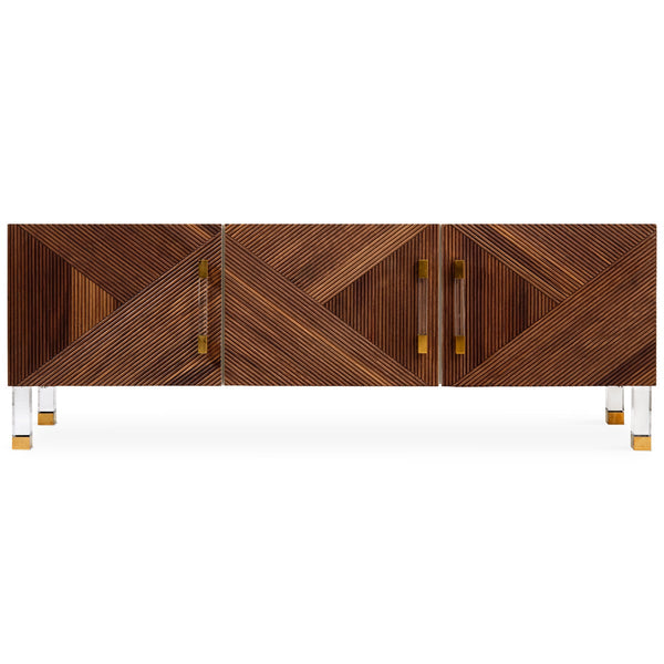 Milan 3 Door Credenza in Oiled Walnut - ModShop1.com