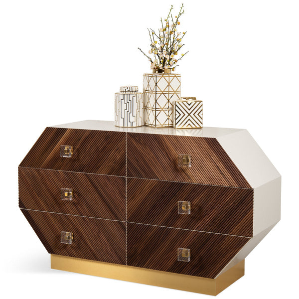 Milan 6 Drawer Octagon Dresser in Oiled Walnut - ModShop1.com