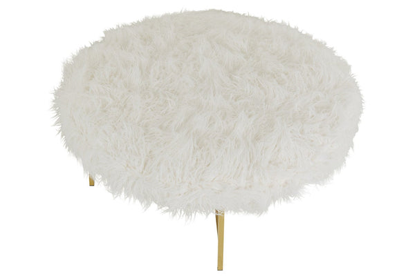 Top view of Milan ottoman with faux fur