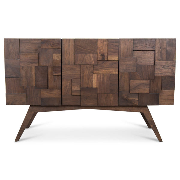 Kubist 3 Door Credenza with Walnut Legs - ModShop1.com