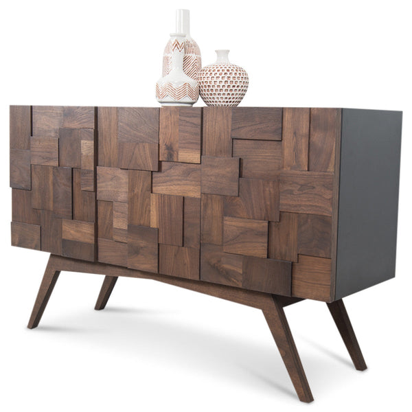 Kubist 3 Door Credenza with Walnut Legs