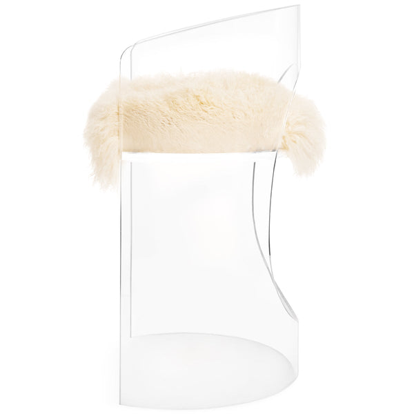 Monaco Counter Stool in Mongolian Fur - ModShop1.com