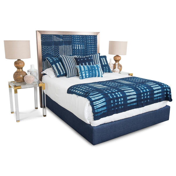 Ibiza Bed in Navy Mud Cloth