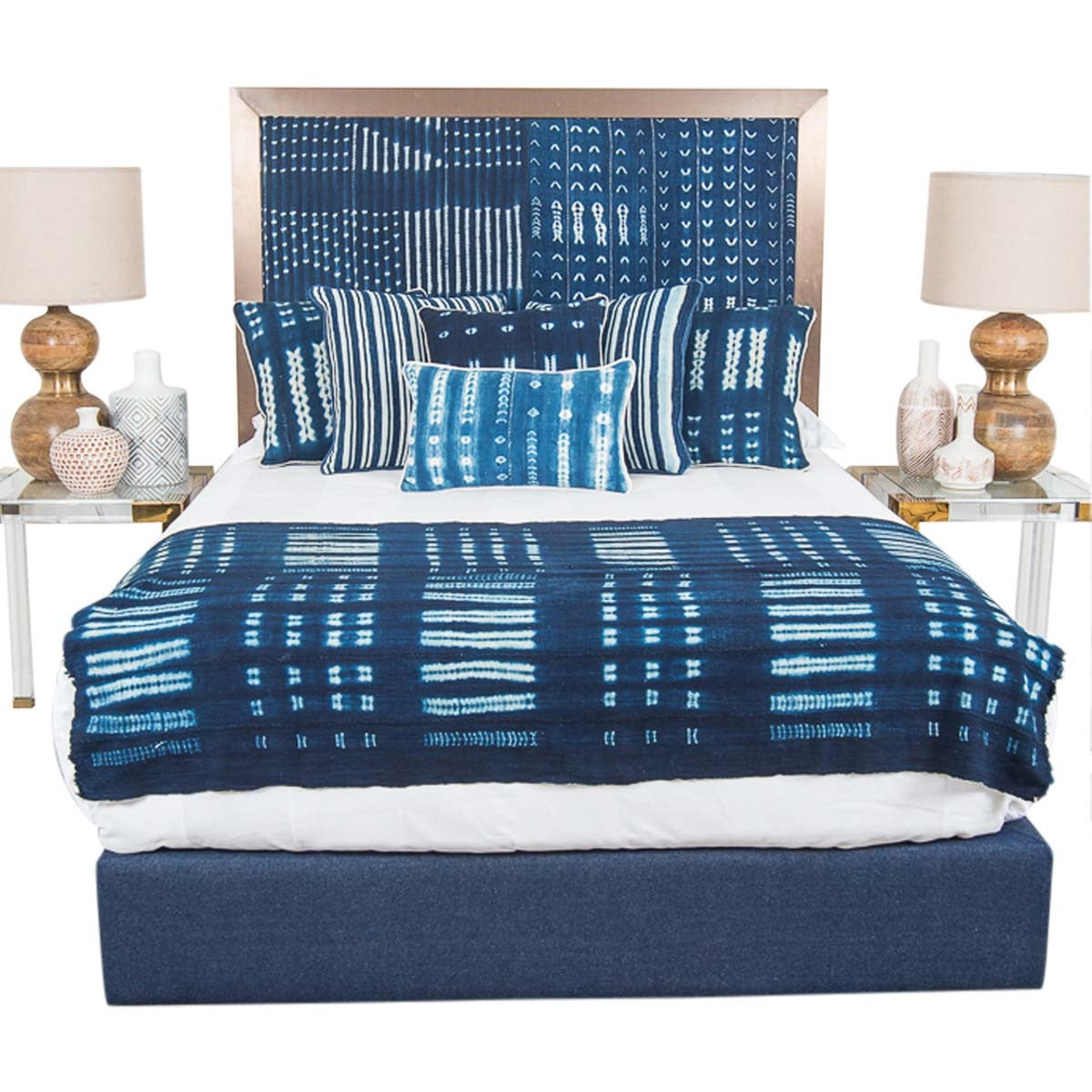 Ibiza Bed in Navy Mud Cloth - ModShop1.com