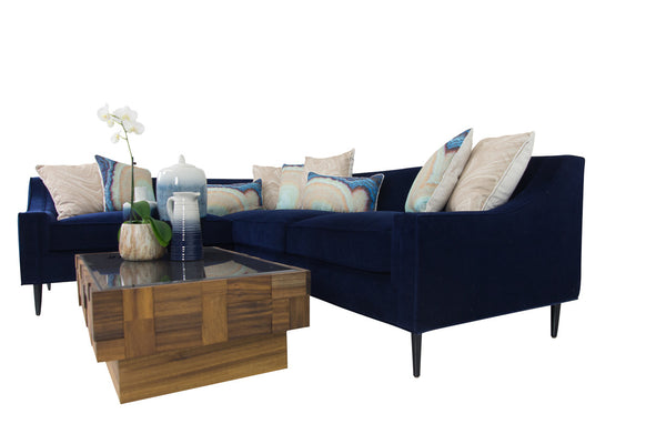 Audrey Sectional in Navy Velvet