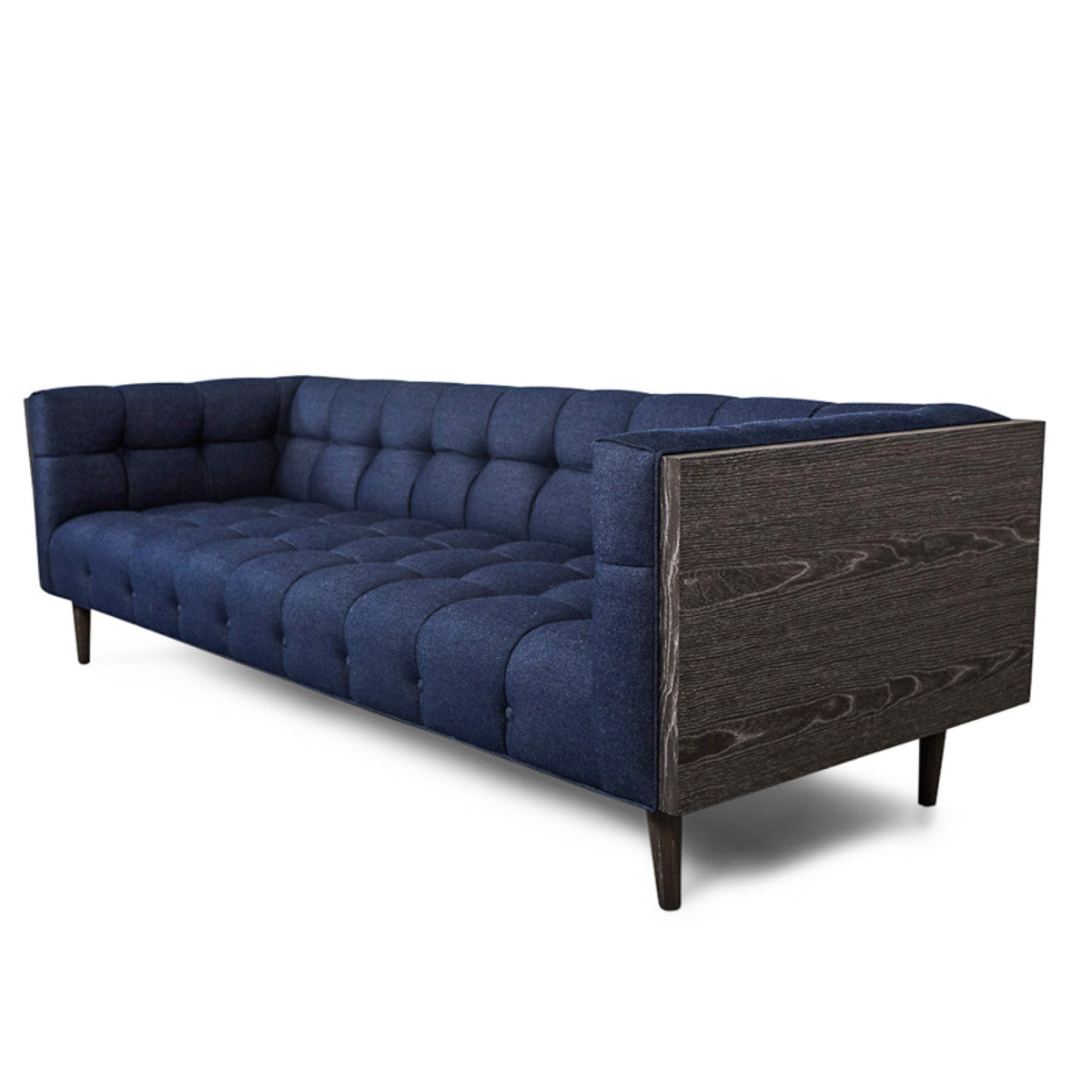 Charmant Mid Century Sofa In Dark Navy Raw Denim