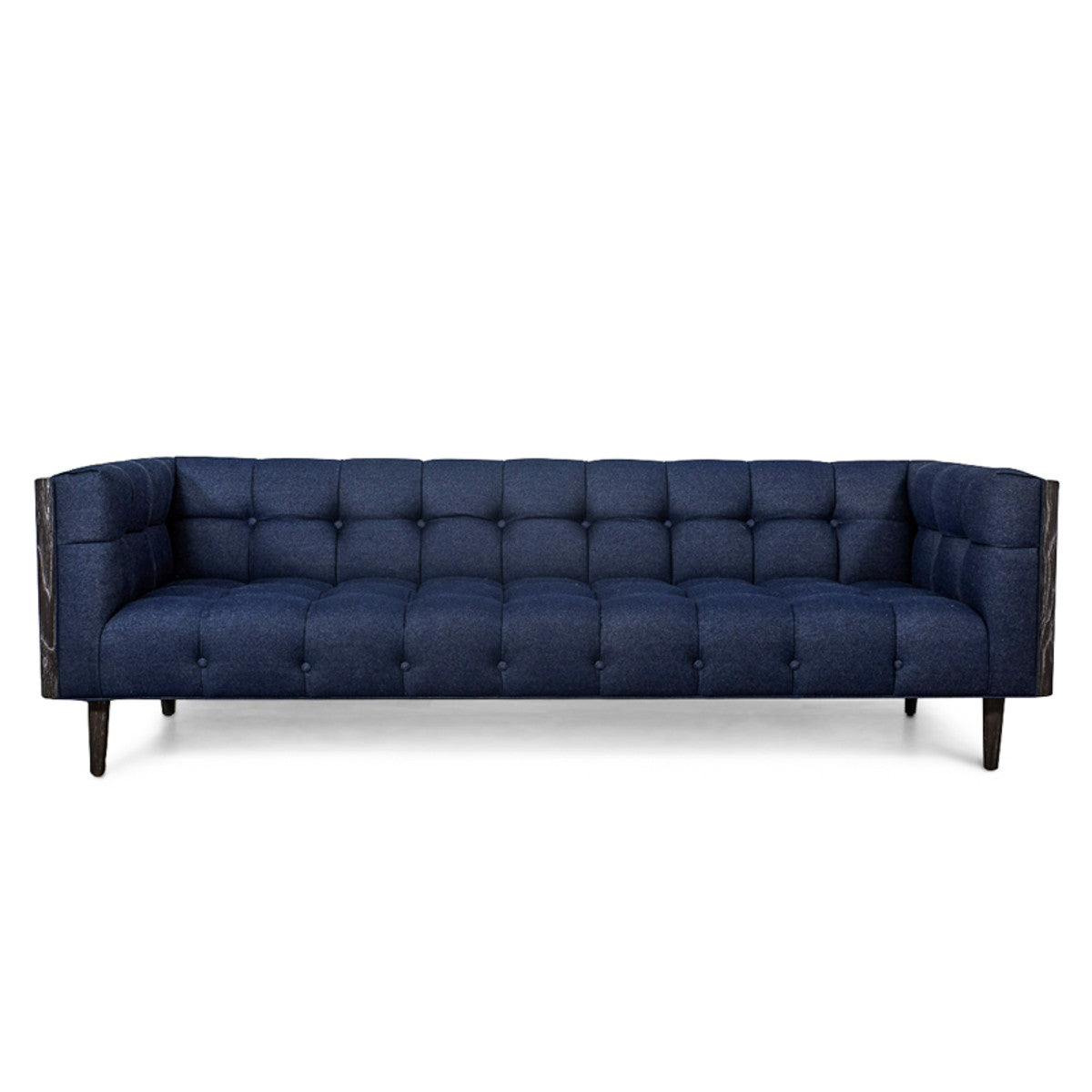 Mid Century Sofa In Dark Navy Raw Denim