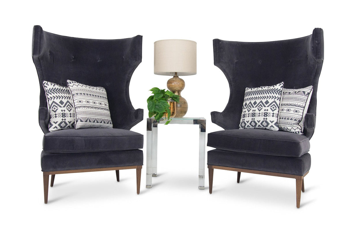 Trousdale Wing Chair in Boulevard Graphite Velvet - ModShop1.com