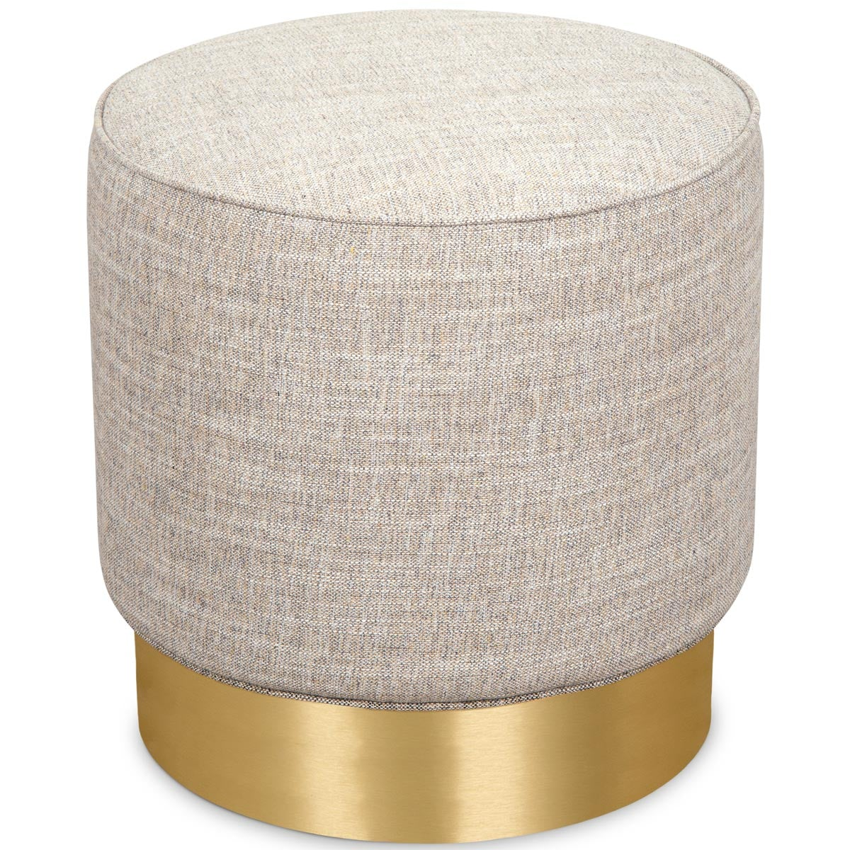Round ottoman with a brushed brass pedestal base and linen butterscotch upholstery.