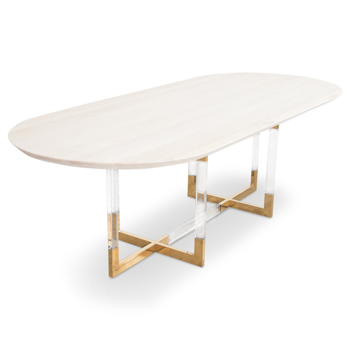 Trousdale 2 Oval Dining Table in Bleached Solid Hickory - ModShop1.com