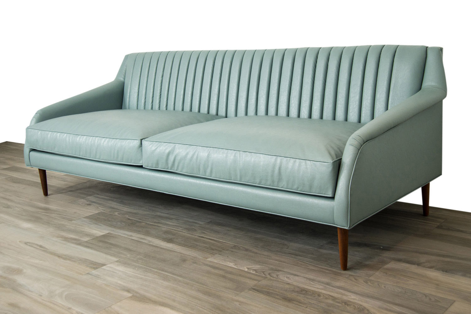 Palermo Sofa In Ice Blue Faux Leather