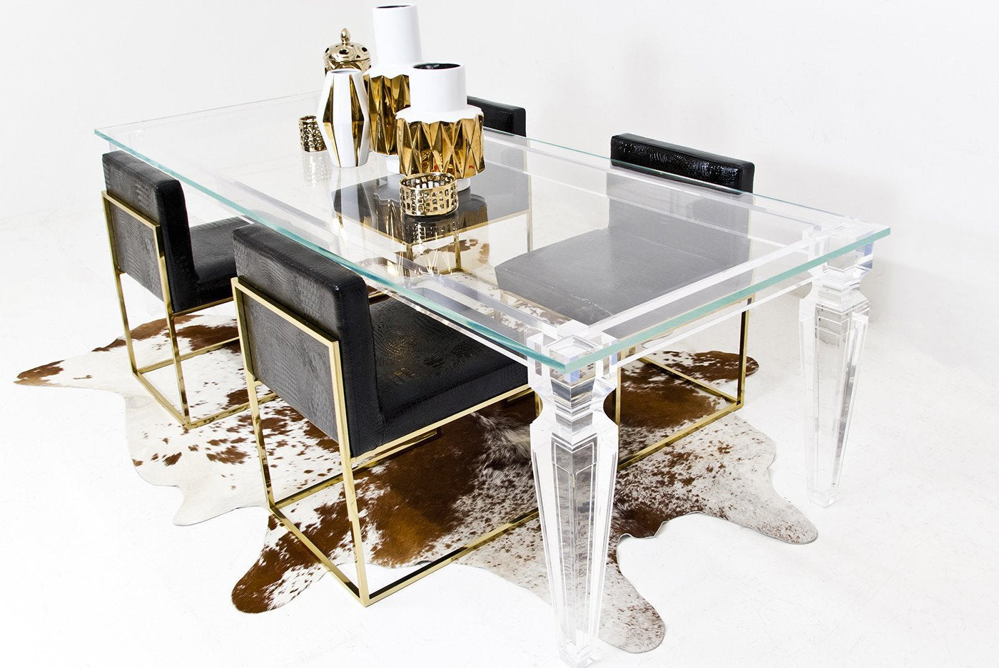 Palm beach lucite dining table modshop for Lucite kitchen table