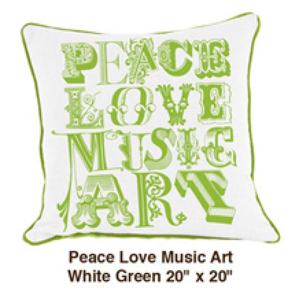 Peace Love Music Art White / Green