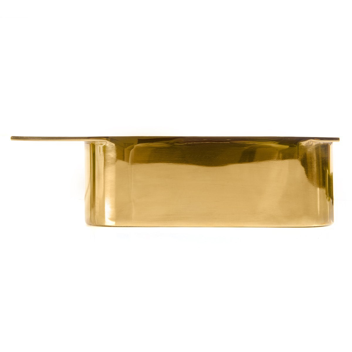 Pill leg for furniture with polished brass finish and wide, integrated mounting plate.
