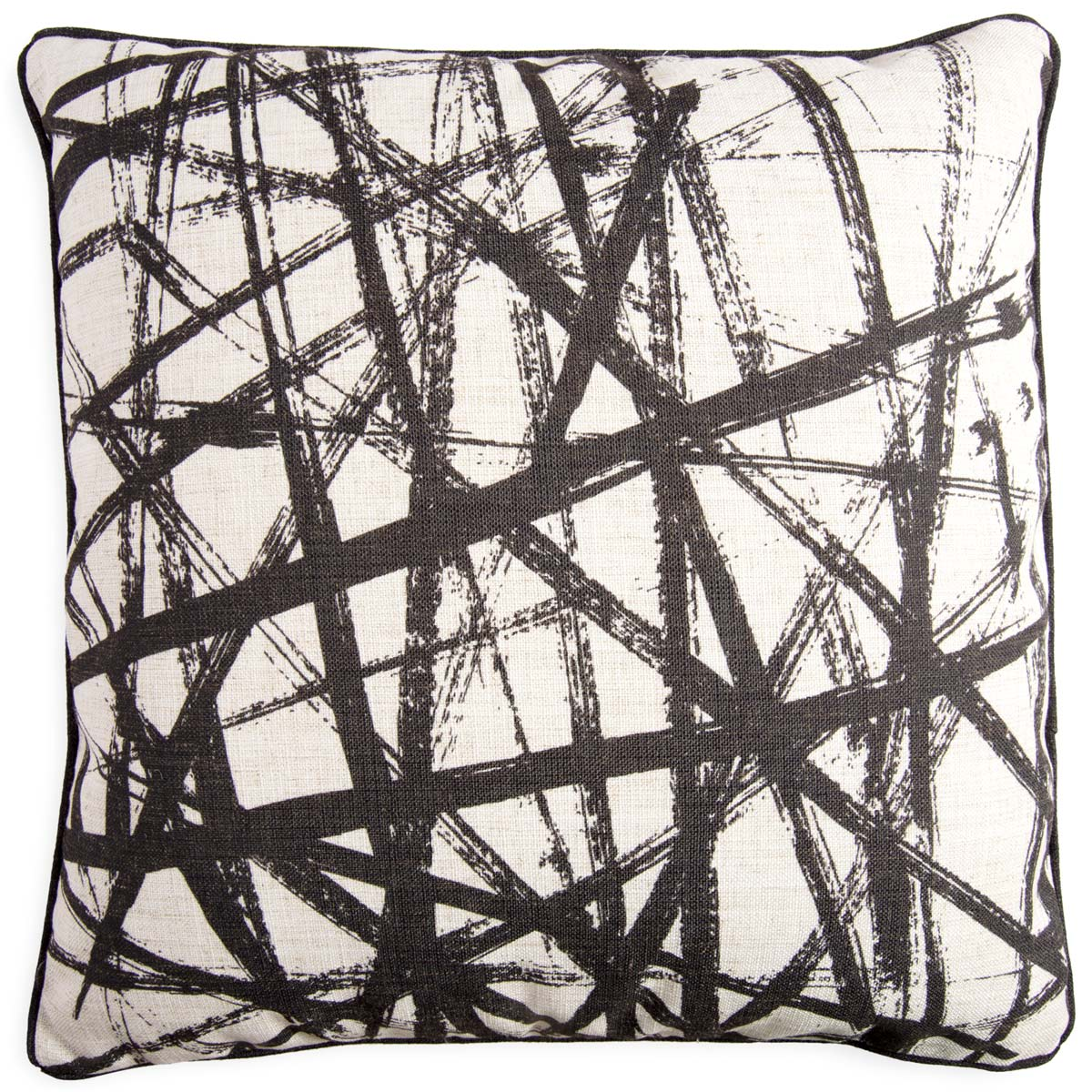 Throw pillow with a white background and black brush strokes design.