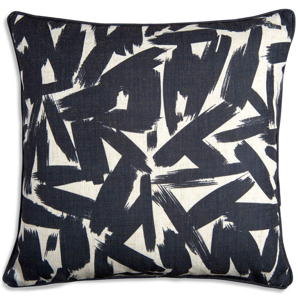 Brush Strokes Black Pillow