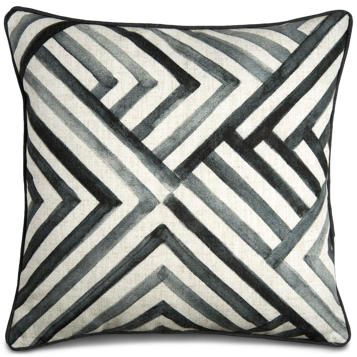 Modern Geometric Watercolor Pillow Black - ModShop1.com