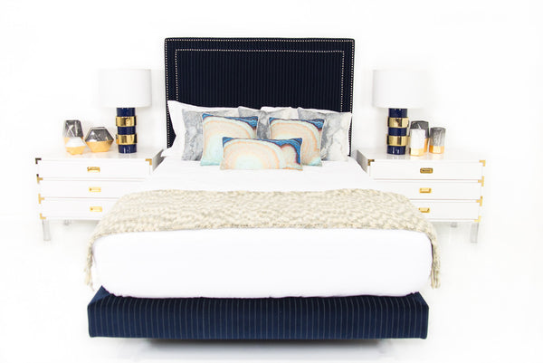 Palm Beach Bed in Pinstriped Navy Velvet