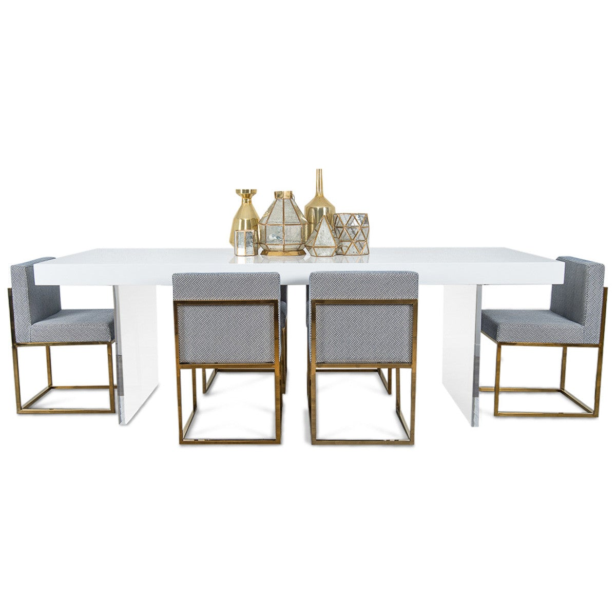 Lucite Plinth Leg Dining Table In White Modshop