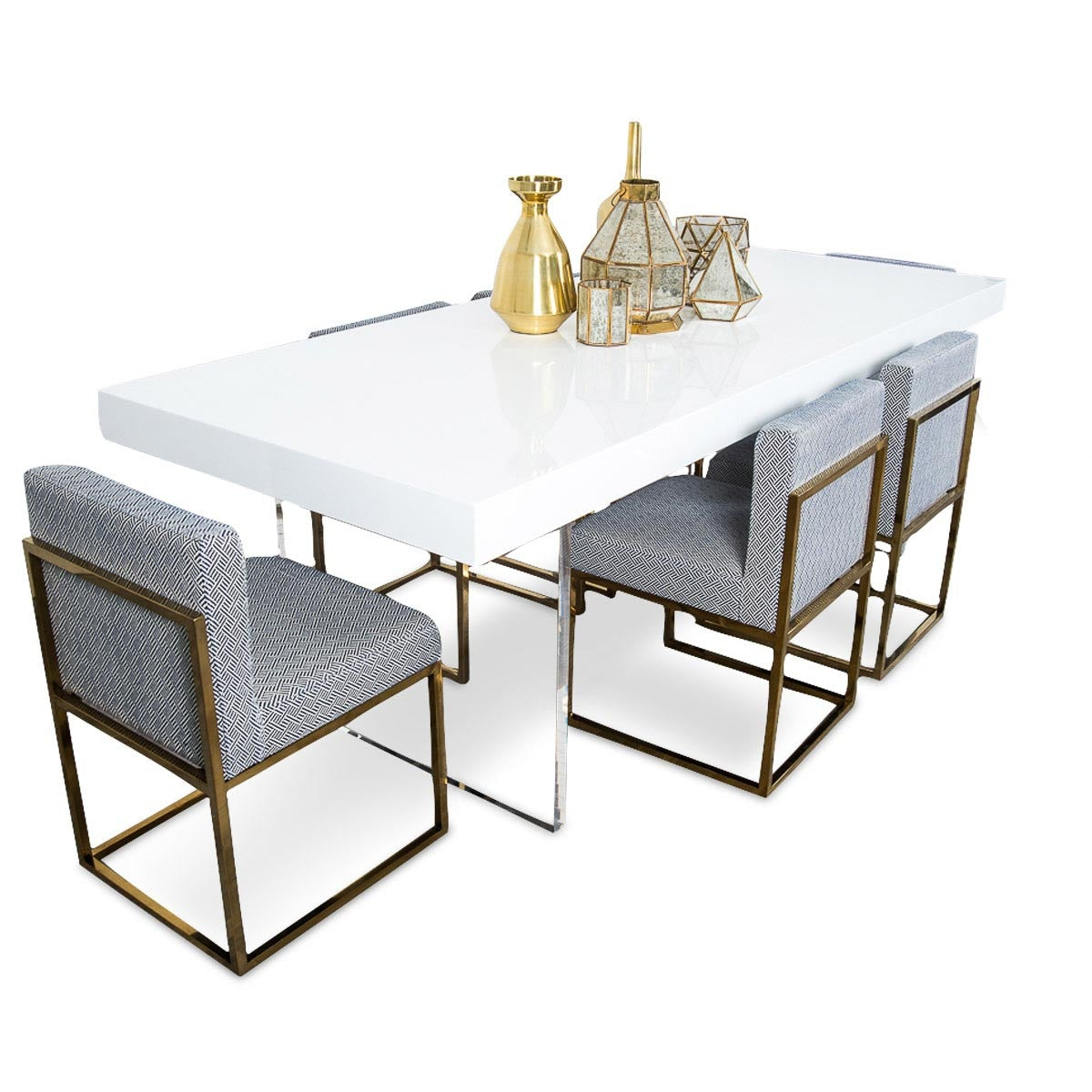 Lucite plinth leg dining table in white modshop for Lucite kitchen table