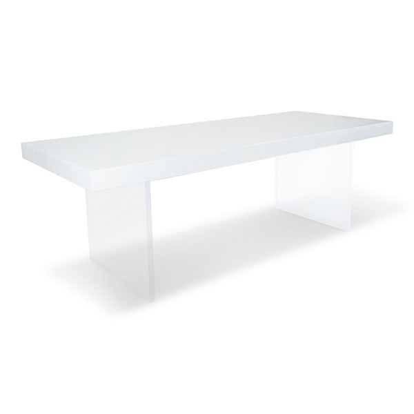 Lucite Plinth Leg Dining Table in White