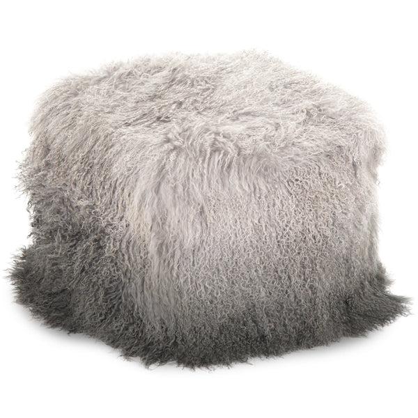Light Grey to Charcoal Ombre Mongolian Fur Pouf