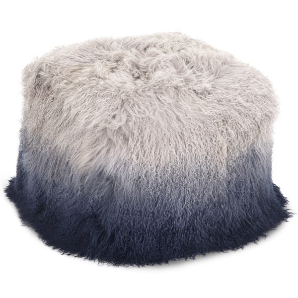 Light Grey to Navy Ombre Mongolian Fur Pouf