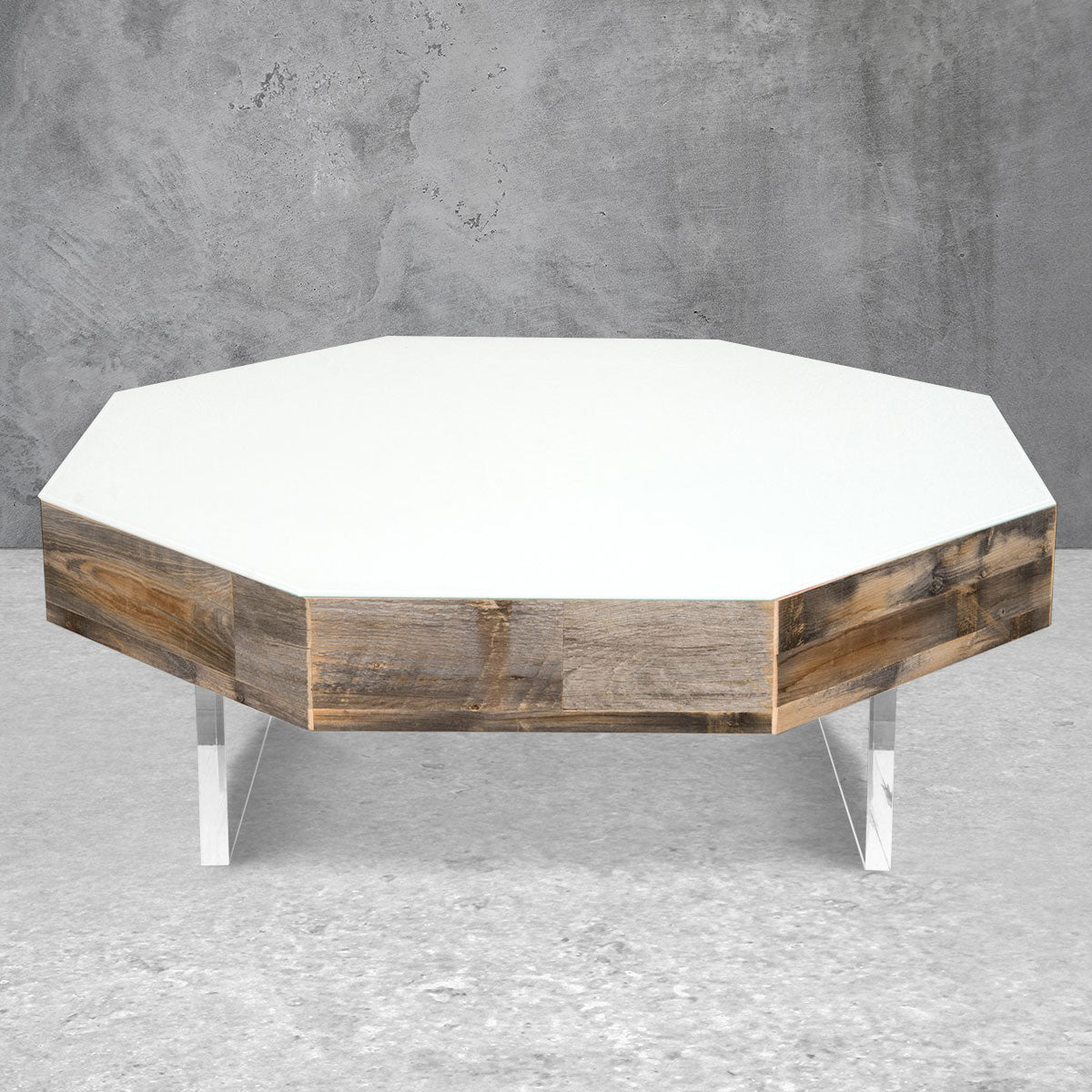 Reclaimed Wood Octagon Lucite Plinth Coffee Table