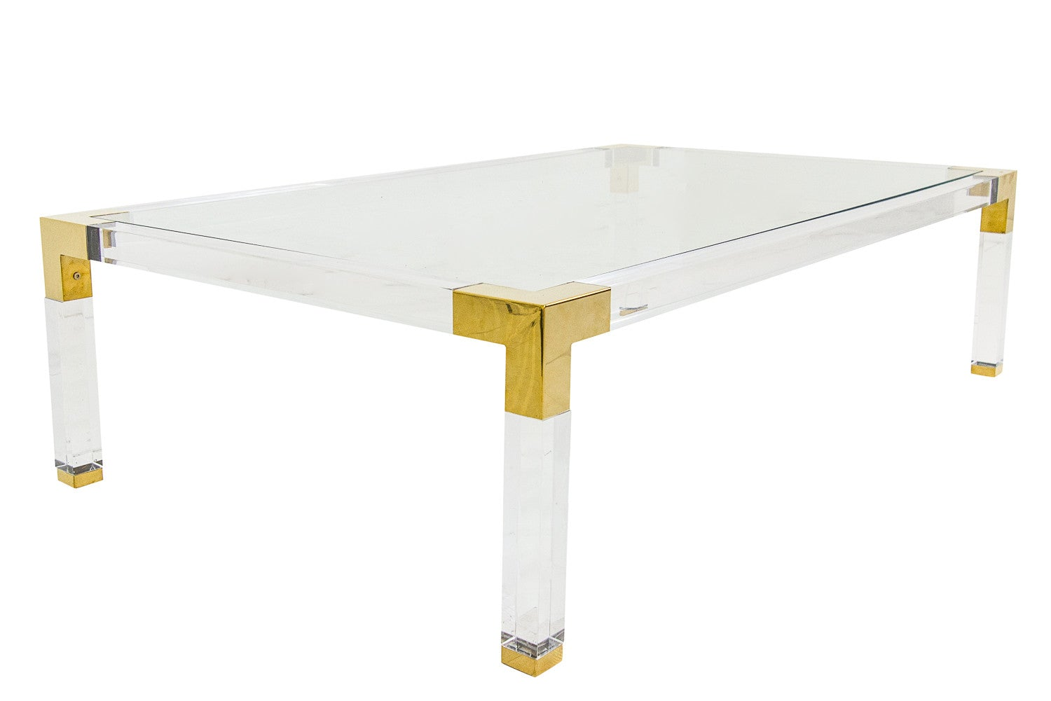lucite and brass coffee table - modshop