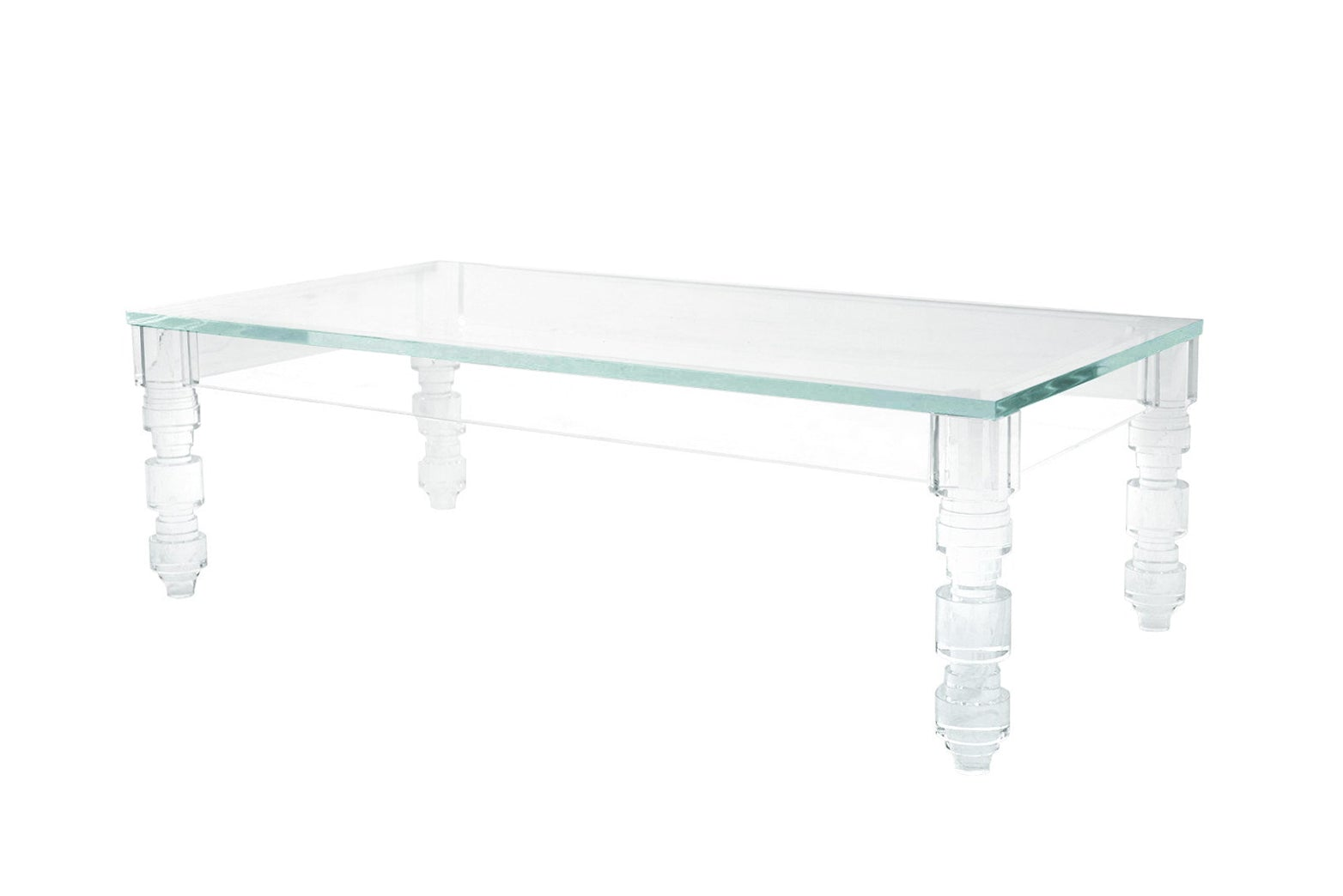 Attirant Rectangular Beverly HIlls Lucite Coffee Table