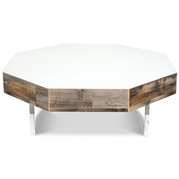 Recycled Wood Octagon Lucite Plinth Coffee Table