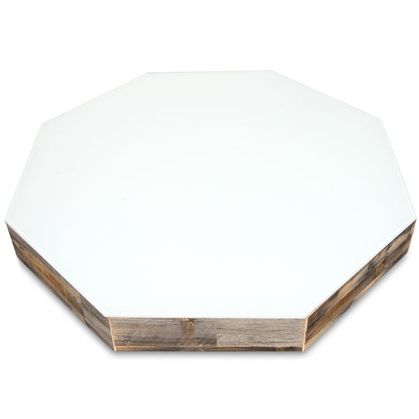 Recycled Wood Octagon Lucite Plinth Coffee Table - ModShop1.com
