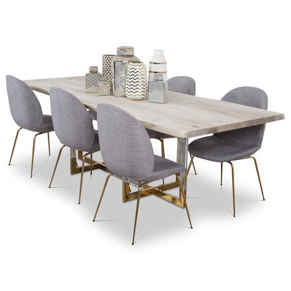 Exceptional San Paulo Solid Bleached Live Edge Walnut Slab Dining Table