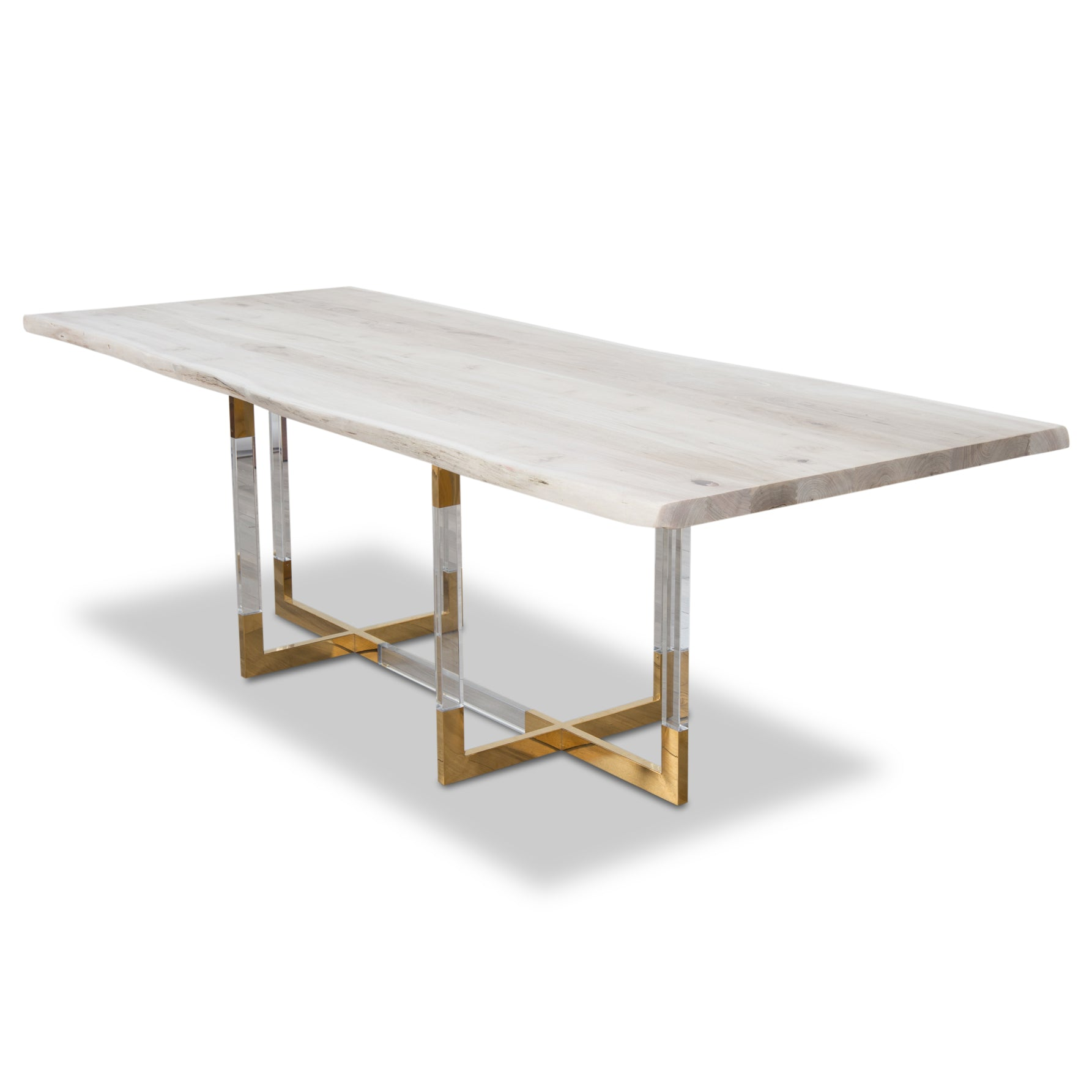 San Paulo Solid Bleached Live Edge Walnut Slab Dining Table ModShop - Bleached wood dining table