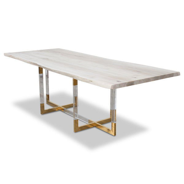 San Paulo Solid Bleached Live Edge Walnut Slab Dining Table - ModShop1.com