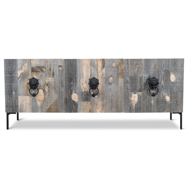 Santiago 3 door Credenza with Recycled Wood and Matte Black Lion Hardware