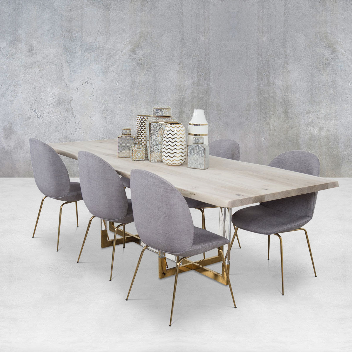 Sao Paulo Solid White Washed Live Edge Walnut Slab Dining Table