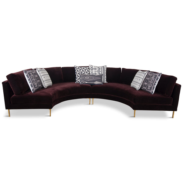 Sardinia Sectional in Burgundy Velvet
