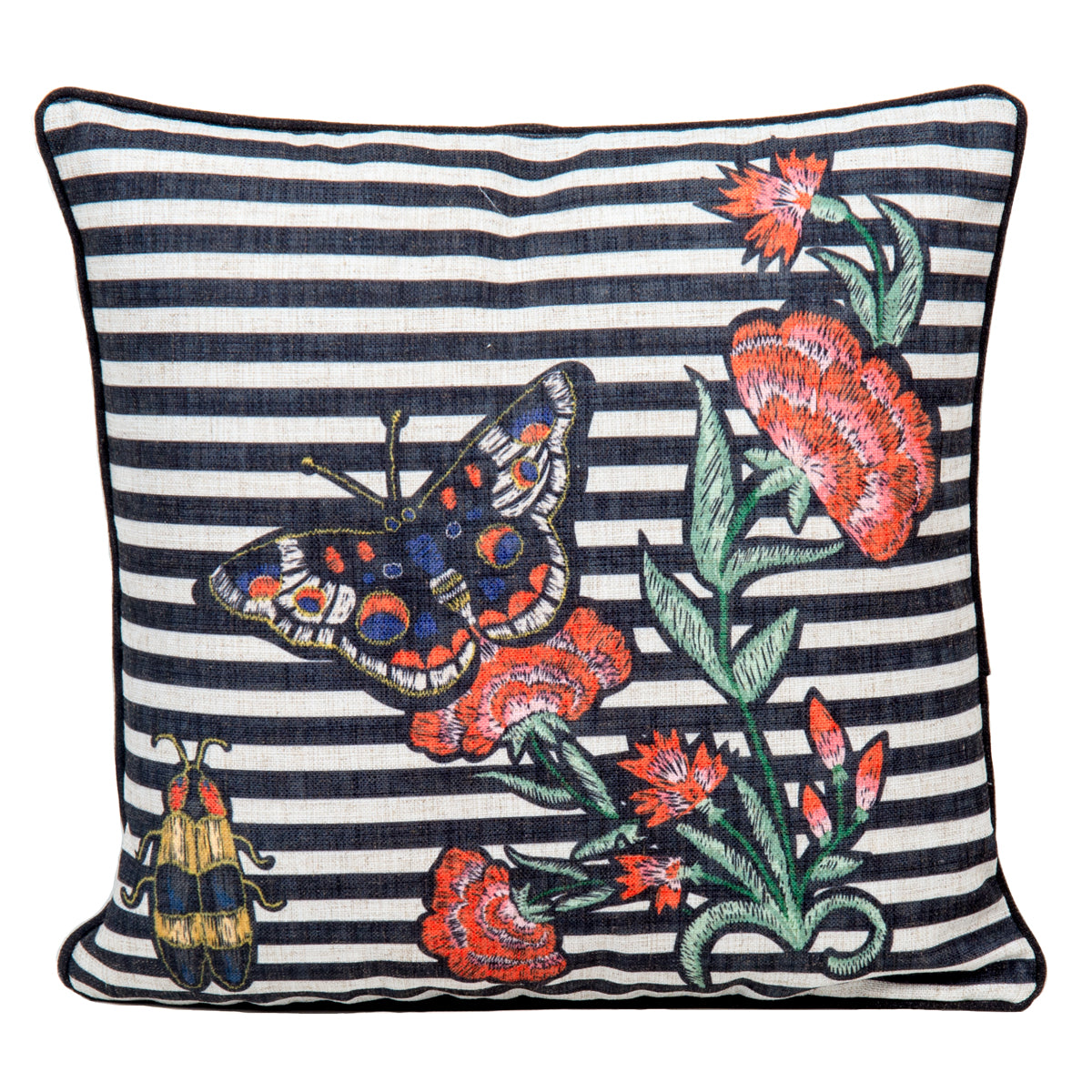 Black and white striped throw pillow with colorful butterflies and red flowers embroidered on the front.