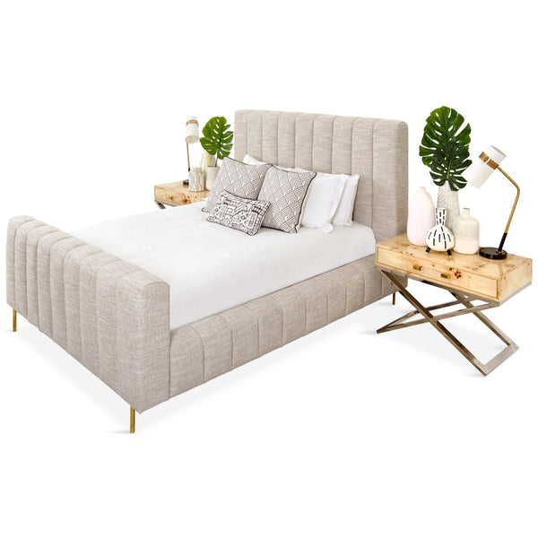Shoreclub Bed with Footboard in Linen - ModShop1.com