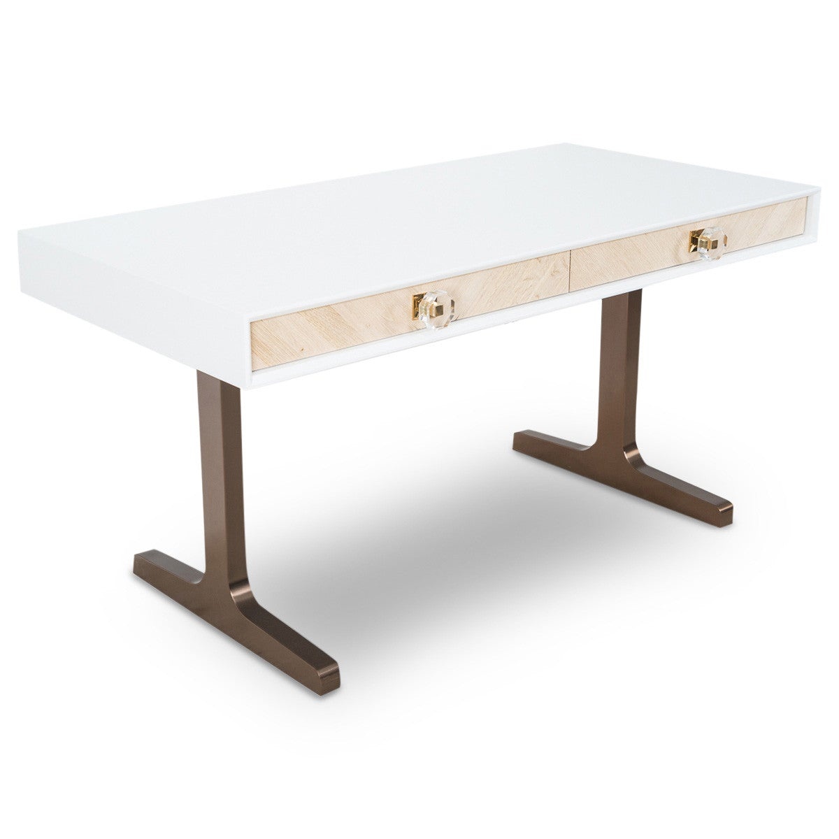 Sicily Desk with Brushed Copper T-Legs - ModShop1.com