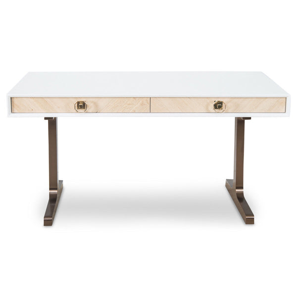 Sicily Desk with Solid T Brushed Copper Legs