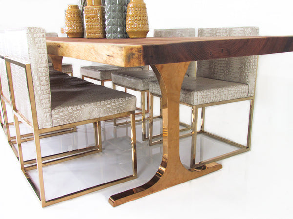 Eco Slab Dining Table With custom Copper Legs